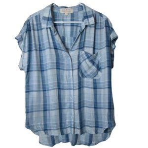 Coth & Stone blue plaid lightweight button up tee